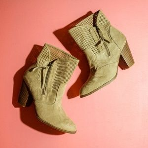 Cato Perforated Faux Suede Ankle Booties